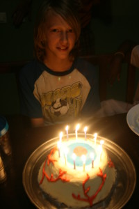 Micah's 12th Birthday.  Yes, his cake is an eyeball :)