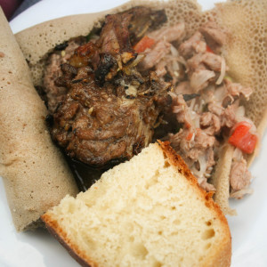 Celebration meal of Goat Tibes and Injera. Heavenly.